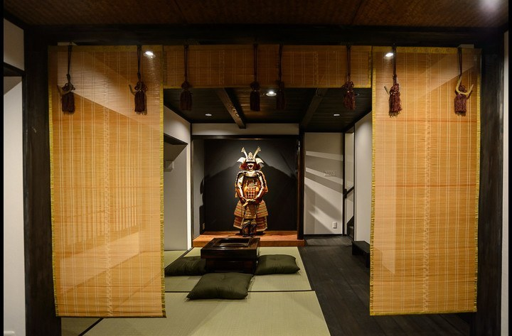 The living room, with Samurai Harry in the alcove
