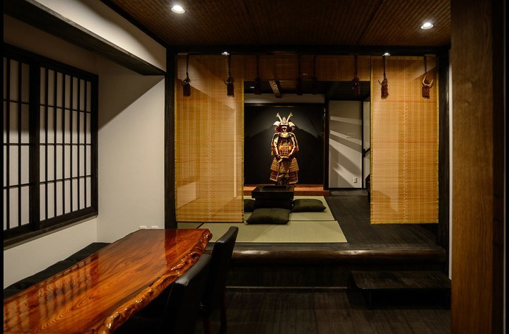 Dining room, and the living room, with Samurai Harry in the alcove