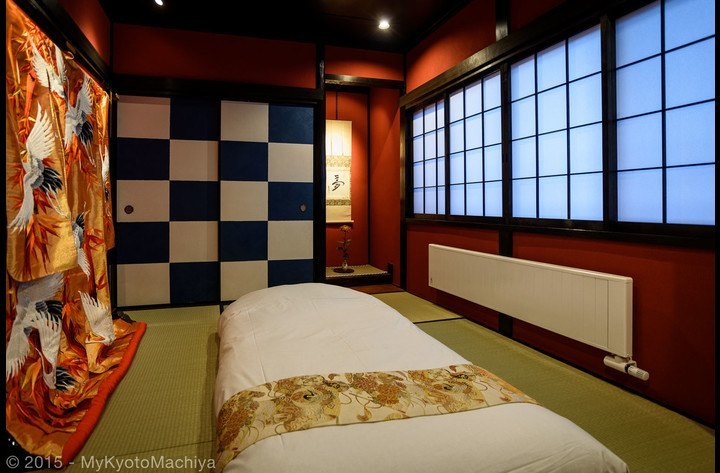 The upstairs Geisha room with one futon (depending on the number of guests, up to three futons can be placed in the room)