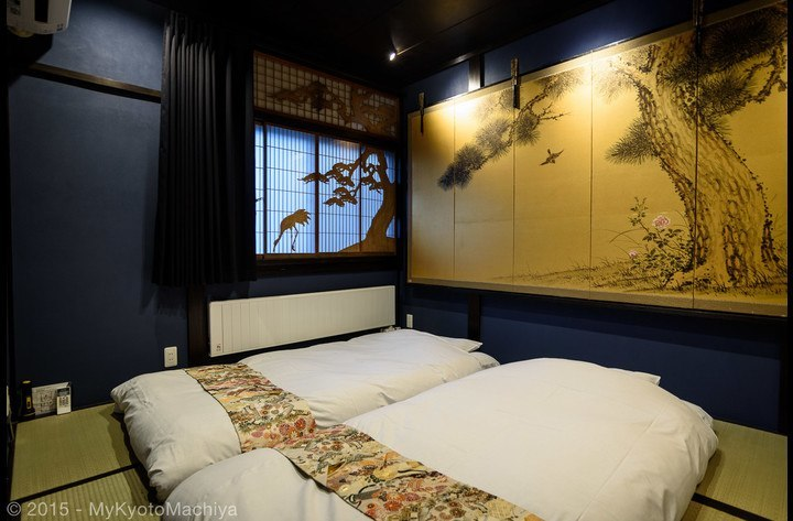 The upstairs Oiran room with two futons (depending on the number of guests, up to three futons can be placed in the room)