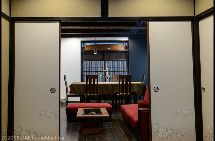 The LDK and the Japanese tatami room are separated by a  Fusuma paper door