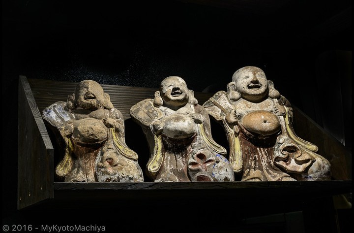 Our three traditional Hotei-san (Fushimi doll), gods protecting the house against fire