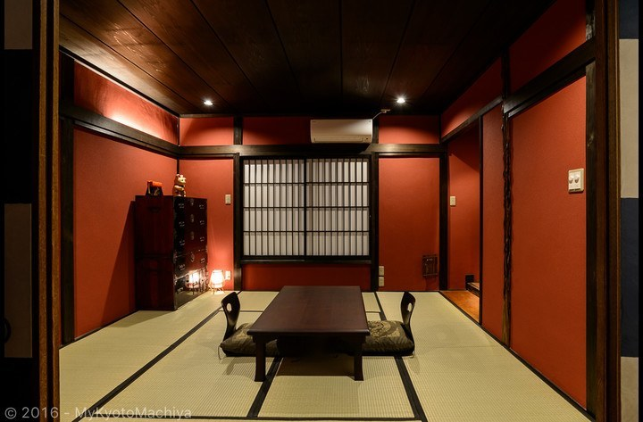 The Japanese tatami mat room is used as a living space during the day