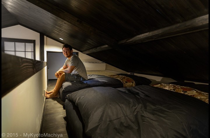 The loft bedroom, with two single beds (mattress)