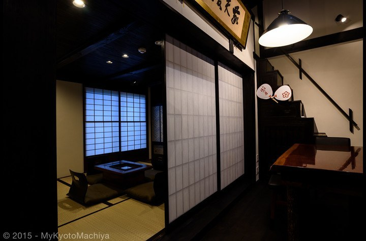 The Japanese tatami mat living Room can be entirely closed for privacy. This is the way it is being used as a bedroom.