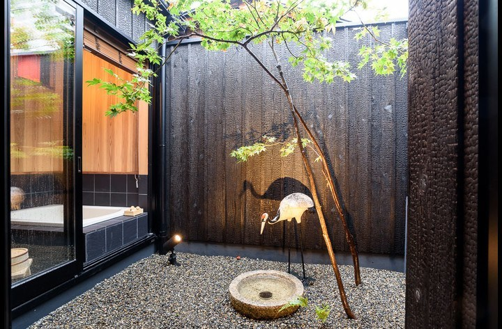 The Tsuboniwa or Courtyard garden, with Momiji (mapple) trees.  The bathroom is on the left and can be open.