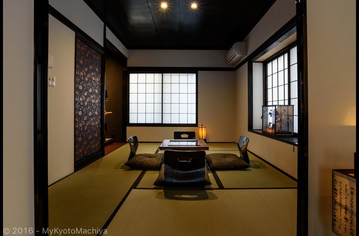 The second Japanese living room downstairs with Samurai Jim in the Tokonoma (alcove)