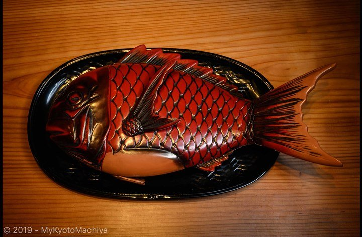 An old Tai or Red Snapper carved confectionery box.