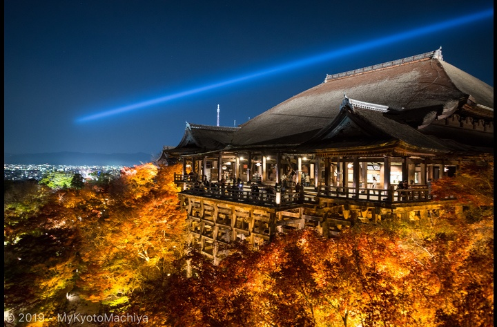 The main building of the  Kiyomizu-dera temple, overlooking the city -- one of Kyoto iconic views.