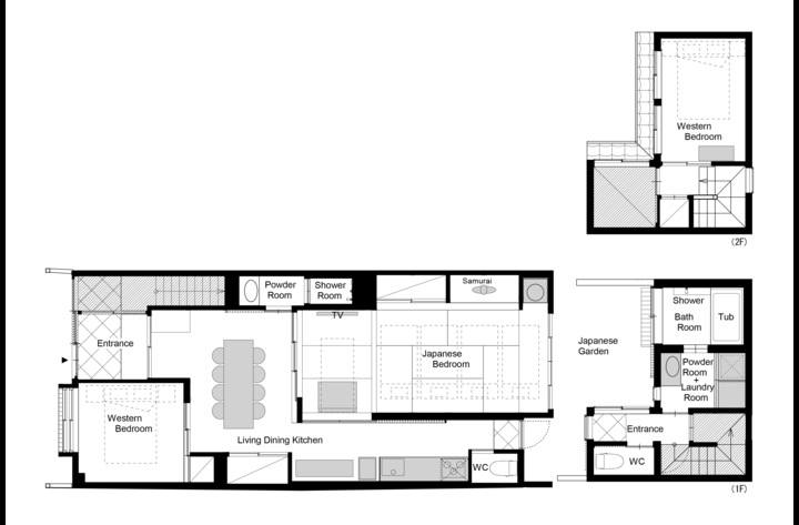 Floor plan of the ground floor and the back building.