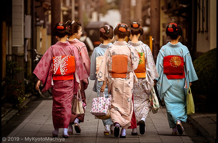 Living around a Hanamachi, Flower Town or Geisha District is a unique experience. Around Miyagawa-Cho, a group of maiko (apprentice geisha) on their way to a meeting.