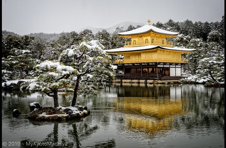 The famous Kinkakuji or Golden Pavilion, a Zen temple in northern Kyoto whose top two floors are completely covered in gold leaf.  I found it even more beautiful under the snow.